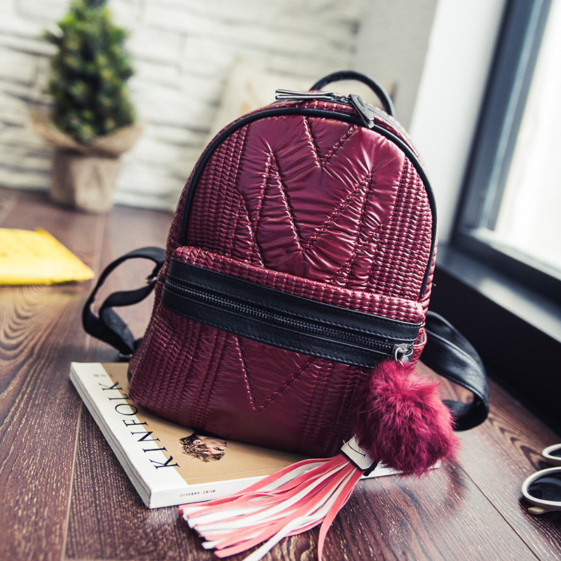 New Season Fashion Tassel Design PU Leather Women Backpack Casual Travel Shoulders Package High Quality Female