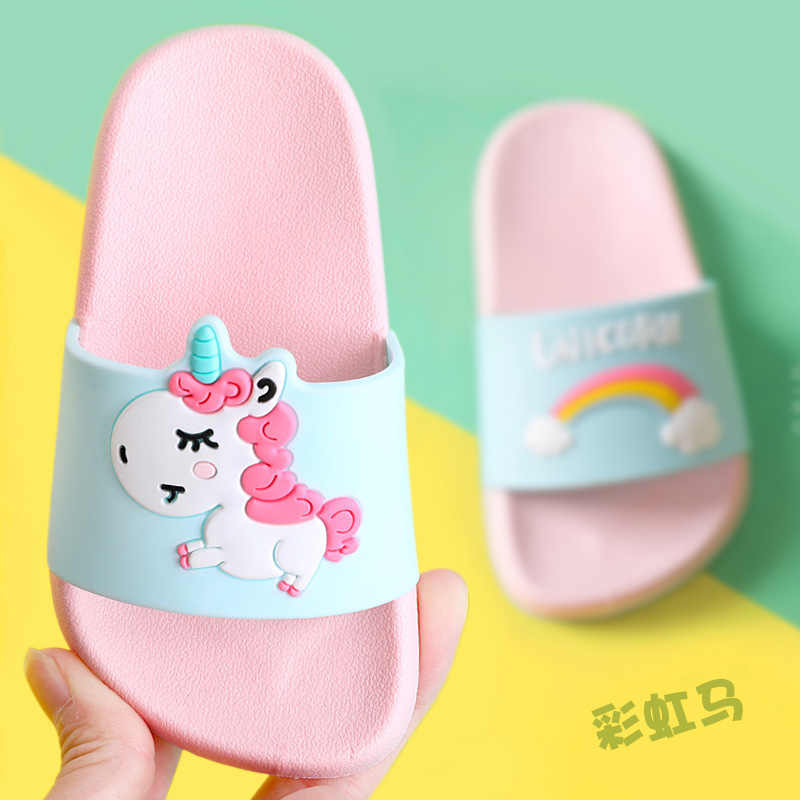 Unicorn Slippers for Boy Girl Rainbow Shoes 2019 Summer Todder Animal Kids Indoor Baby Slippers PVC Cartoon Kids Slippers