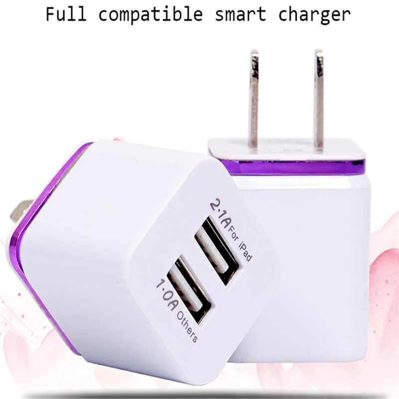 New Arrival Universal 5V 2.1A Phone Charger EU Plug Dual USB Charging Head Portable Travel Wall Charger Adapter
