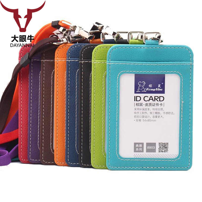 Zongshu Name Credit Card Holders Women Men PU Bank Card Neck Strap Card Bus ID holders candy colors Identity badge with lanyard
