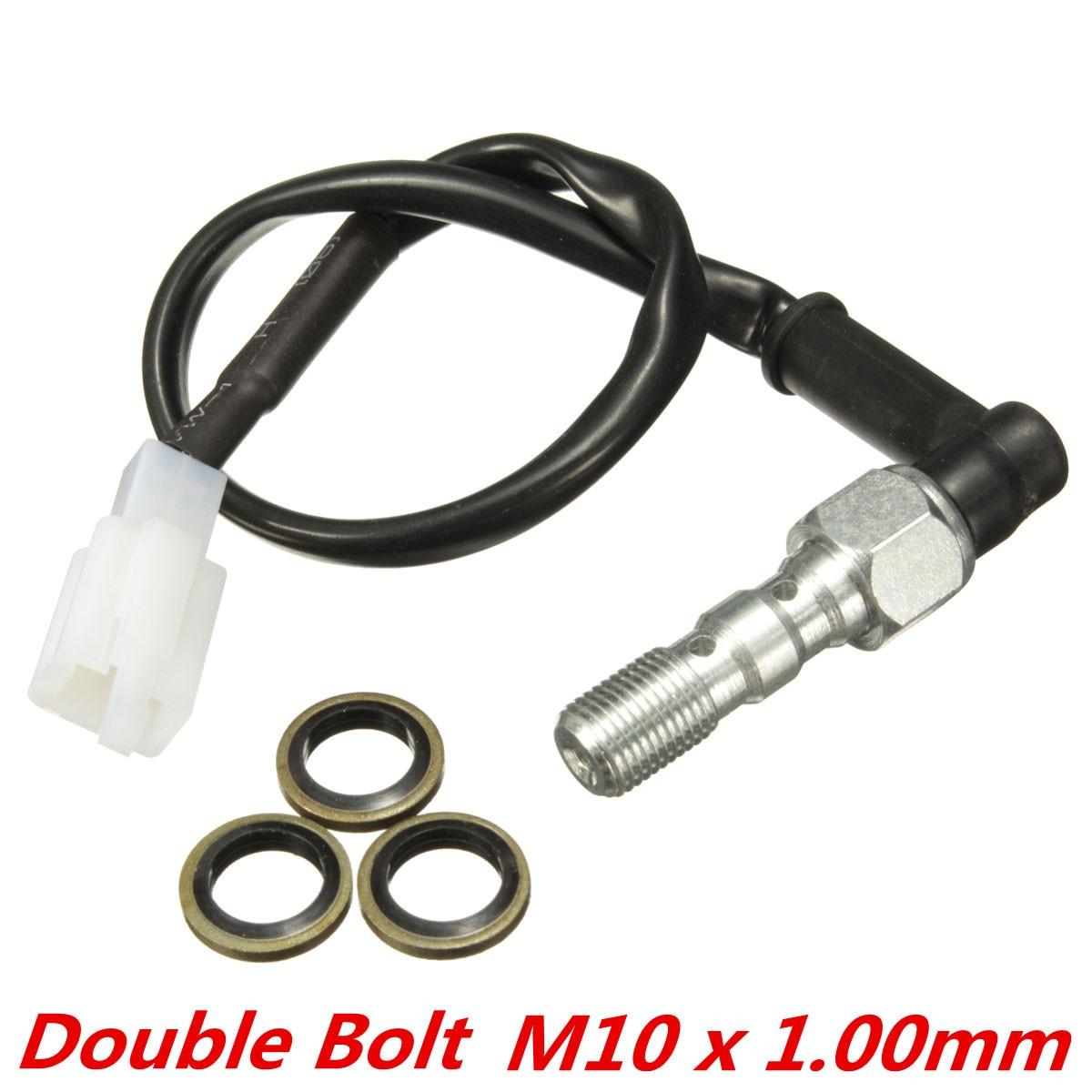 M10 x 1.00mm Motorcycle Hydraulic Double Banjo Bolt Brake Pressure Light Switch For Honda /Kawasaki /Suzuki /Yamaha 2x motorcycle brake banjo bolt m10x1 00 for brake master cylinders calipers