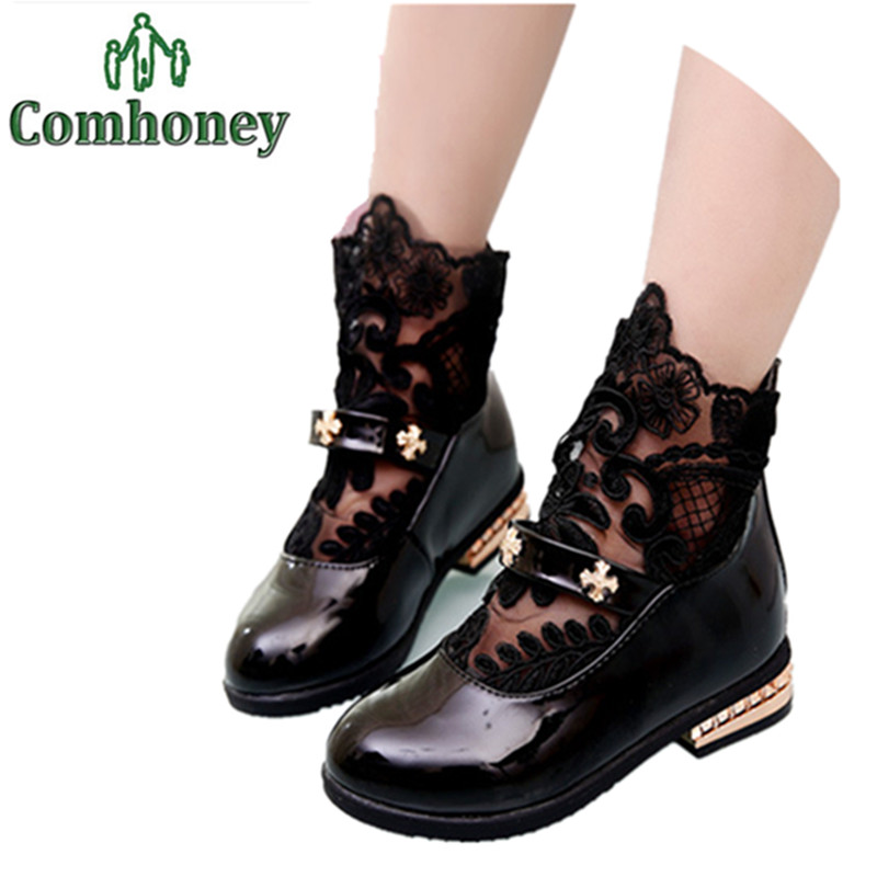 Teenage Girls Lace Boots Spring Ankle School Shoes Princess Toddler PU Leather Kids - Cute Honey store