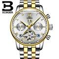 Suíça binger relógios homens marca de luxo turbilhão fulll b-8604-7 mecânico resistente à água relógios de pulso de aço inoxidável