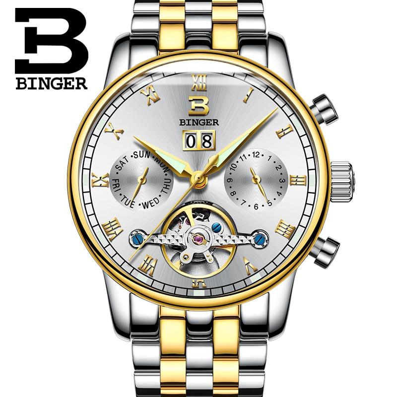 ФОТО Switzerland BINGER watches men luxury brand Tourbillon fulll stainless steel water resistant Mechanical Wristwatches B-8604-7