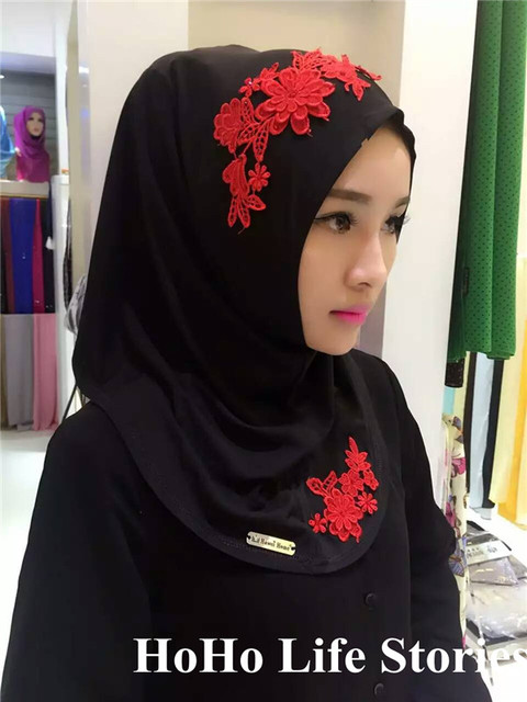 Us 17 15 Tj43 Embroidery High Quality Muslim Hijabs Scarf Easy Wear Chiffon New Style Fashion Beautiful Muslim Women Pashmina Hijab In Women S