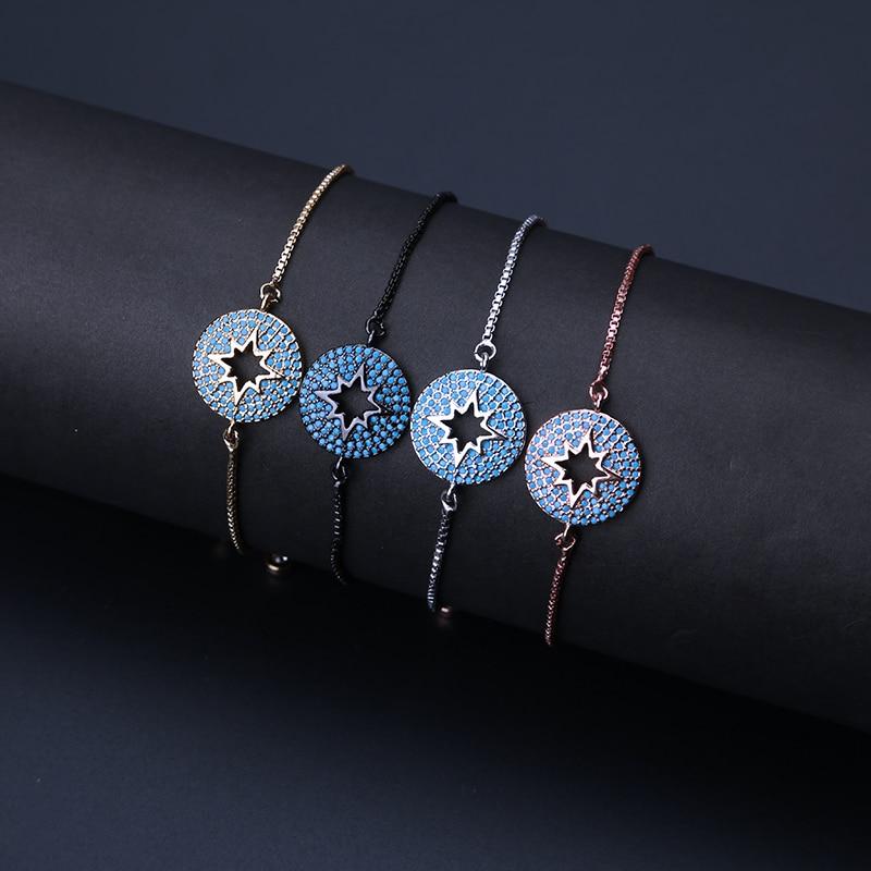 1 Stück Mode Funkelnden Mikro Pflastern Cz Box Kette Armband Hohlen Sterne Charme Zirkon Armband Schmuck Armband Pulsera Als Geschenk GüNstige VerkäUfe