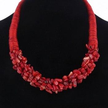 Pop oryginalny czechy komunikat Choker moda Charms 100% naturalne kamień koralowy klejnot obroża naszyjniki i wisiorki damska biżuteria na prezent