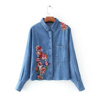 Women Floral Embroidery Denim Shirts Batwing Long Sleeve Loose Blouse Turn Down Collar Casual Female Clothes