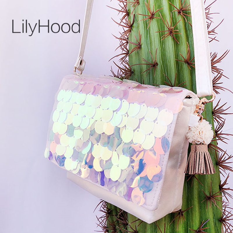 LilyHood Women Summer Sequin Flap Crossbody Bag Female Fashion Casual Beach Iridescent Sparkle Paillette Small Cute Shoulder Bag