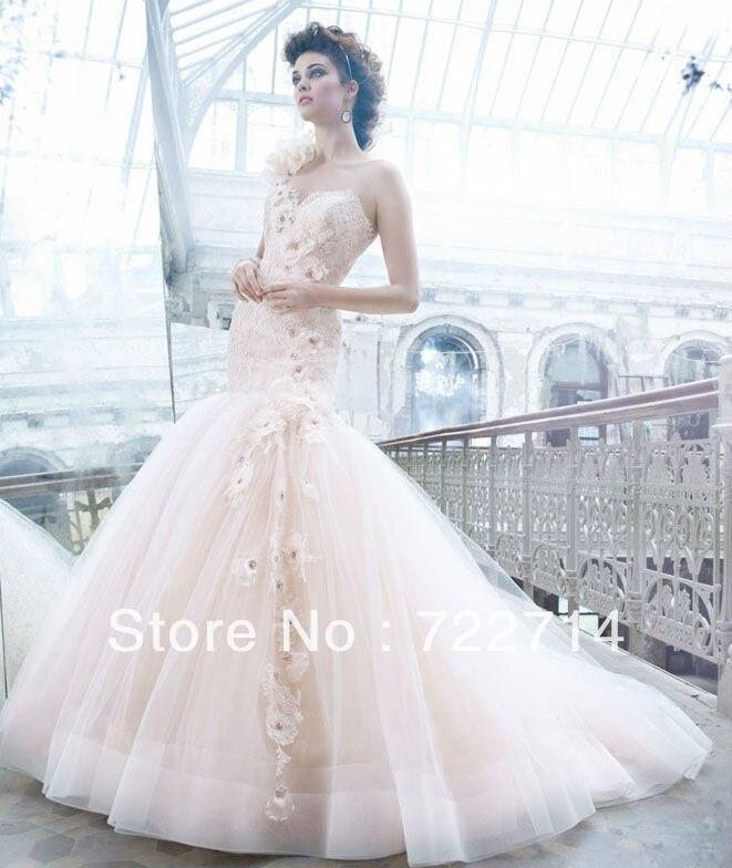 Glamorous lace tulle one shoulder mermaid light pink wedding dress ...