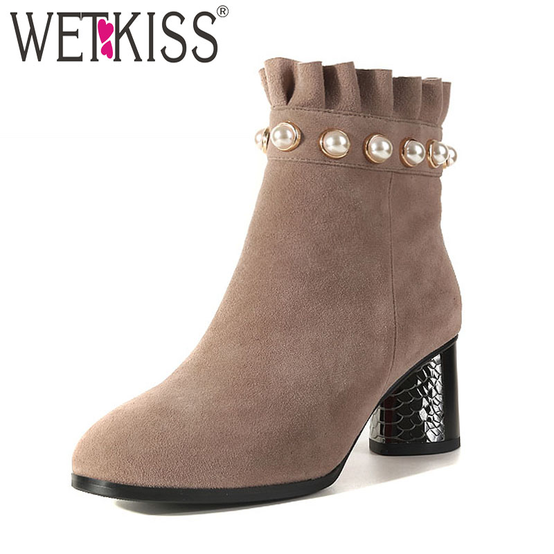 лучшая цена WETKISS Kid Suede High Heels Ankle Boots Women Round Toe Winter Women Boots Warm Fashion Ladies Shoes Pearl Ruffles Footwear