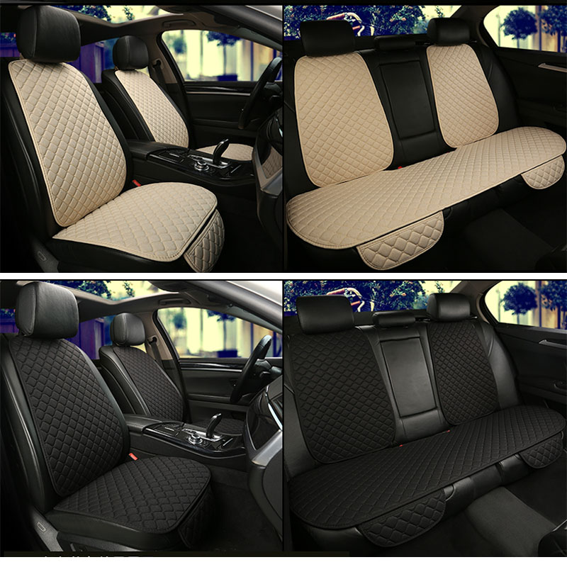 Flax Car Seat Cover Protector Front Rear Seat Back Cushion Pad Mat with Backrest for Auto Automotive interior Truck Suv or Van(China)