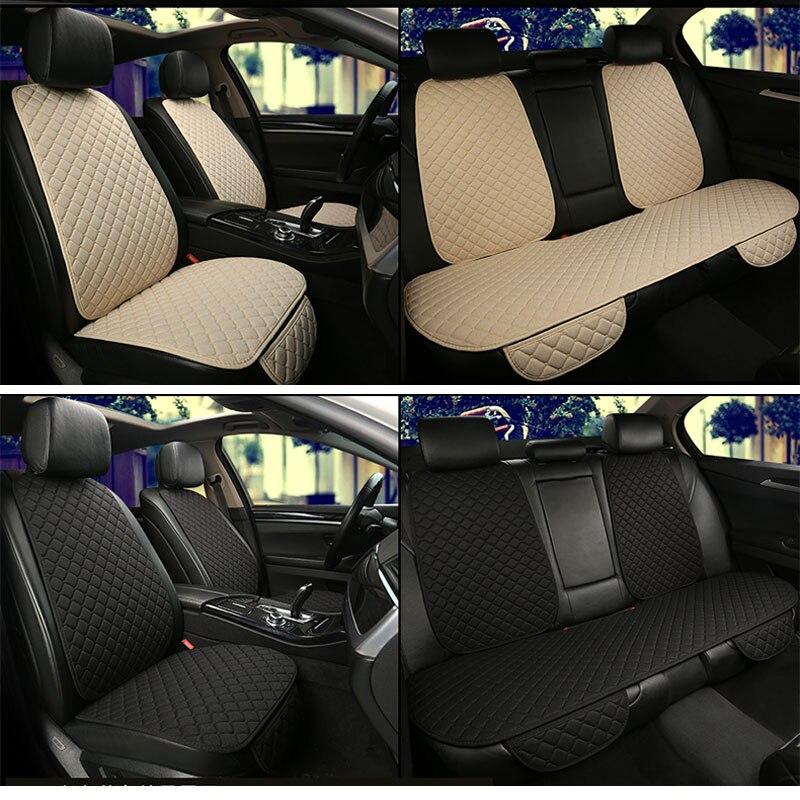 Funda de asiento de coche de lino Protector de asiento trasero delantero almohadilla de cojín con respaldo para Auto automotriz interior camión Suv O Van