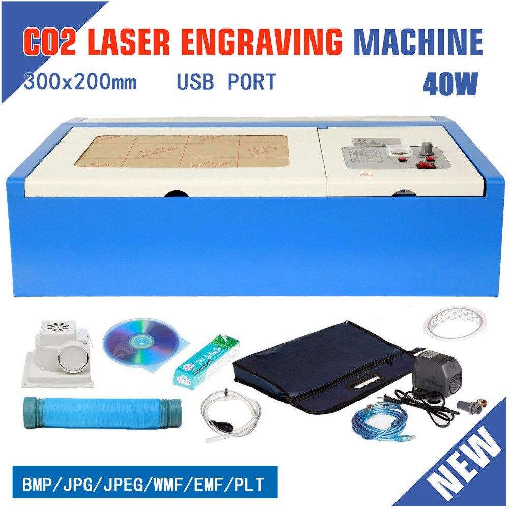 (Navio da UE) 40 W CO2 Gravação A Laser Do Gravador Máquina De Corte Cortador De Porta USB 220 V