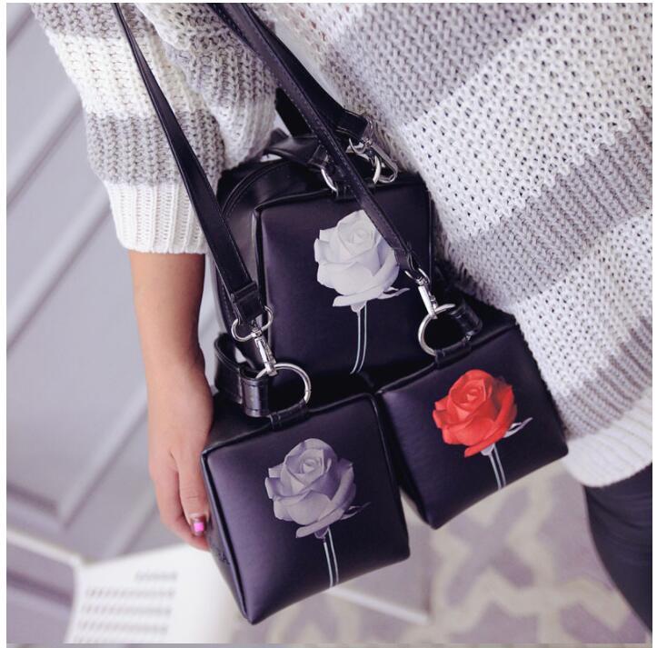1 piece 3D rose flower handbag temperament PU leather craft cube style rose trendy ladies shoulder handbag tote