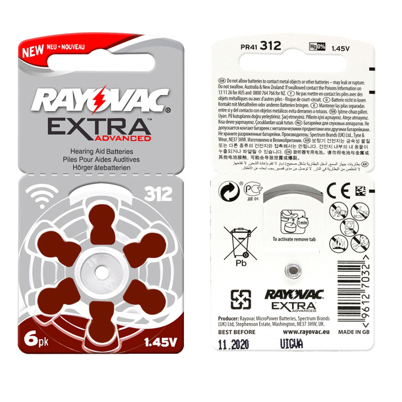 RAYOVAC EXTRA 60 PCS Zinc Air Performance Hearing Aid Batteries A312 312A ZA312 312 PR41 Hearing Aid Battery A312 Free Shipping a312 1 4v zinc air batteries for hearing aid silver 10 pcs