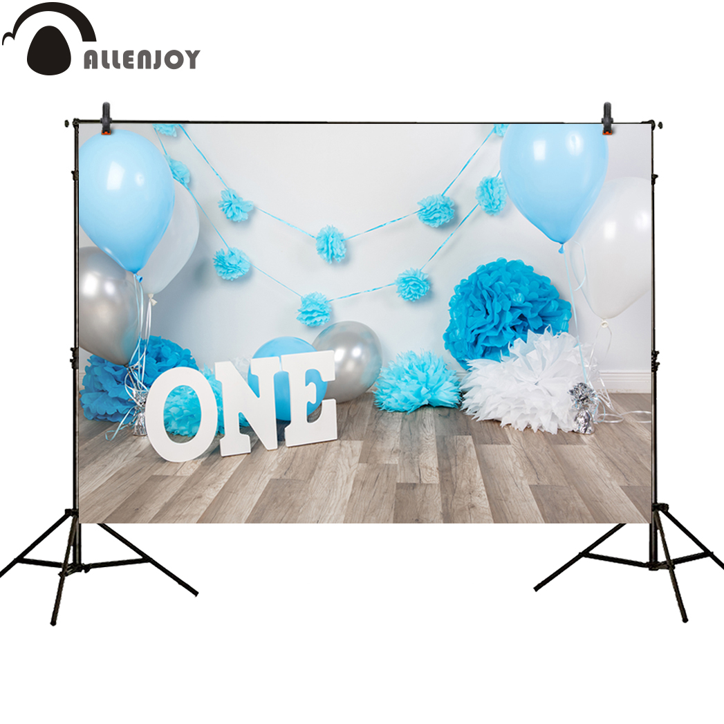 Allenjoy background photography blue balloons birthday one year old wood party backdrops baby newborn vinyl fabric photocall