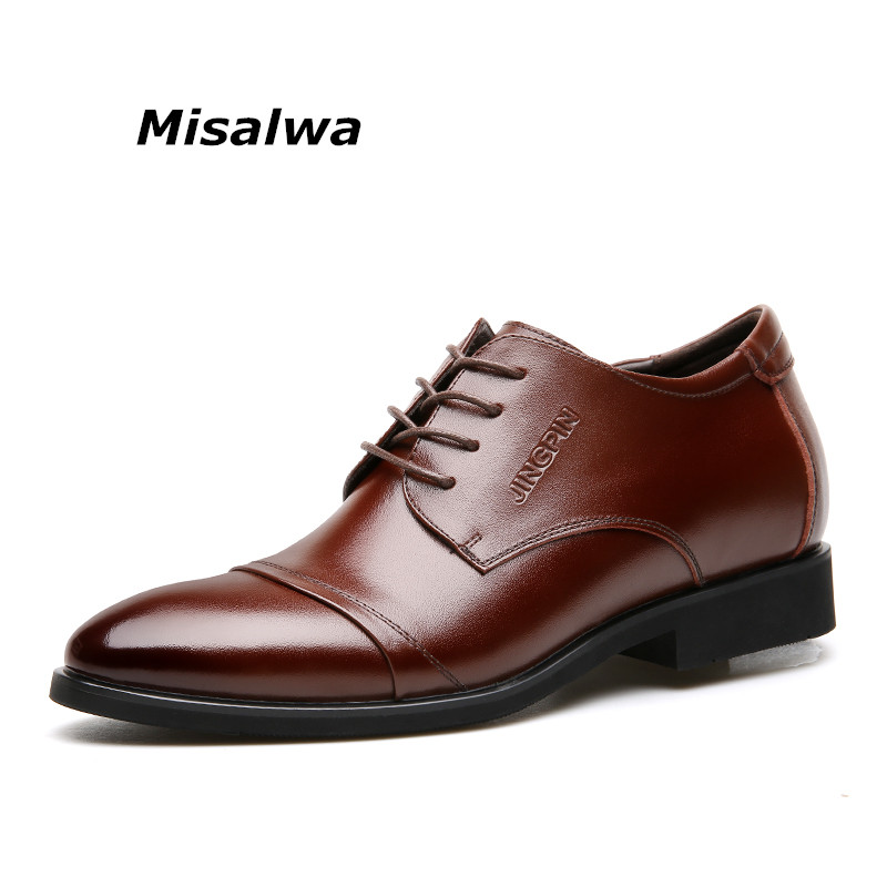 Misalwa 2019 Men Brogue Elegant Shoes Men Formal Shoes Cow Split Leather Height Increasing Elevator Shoes