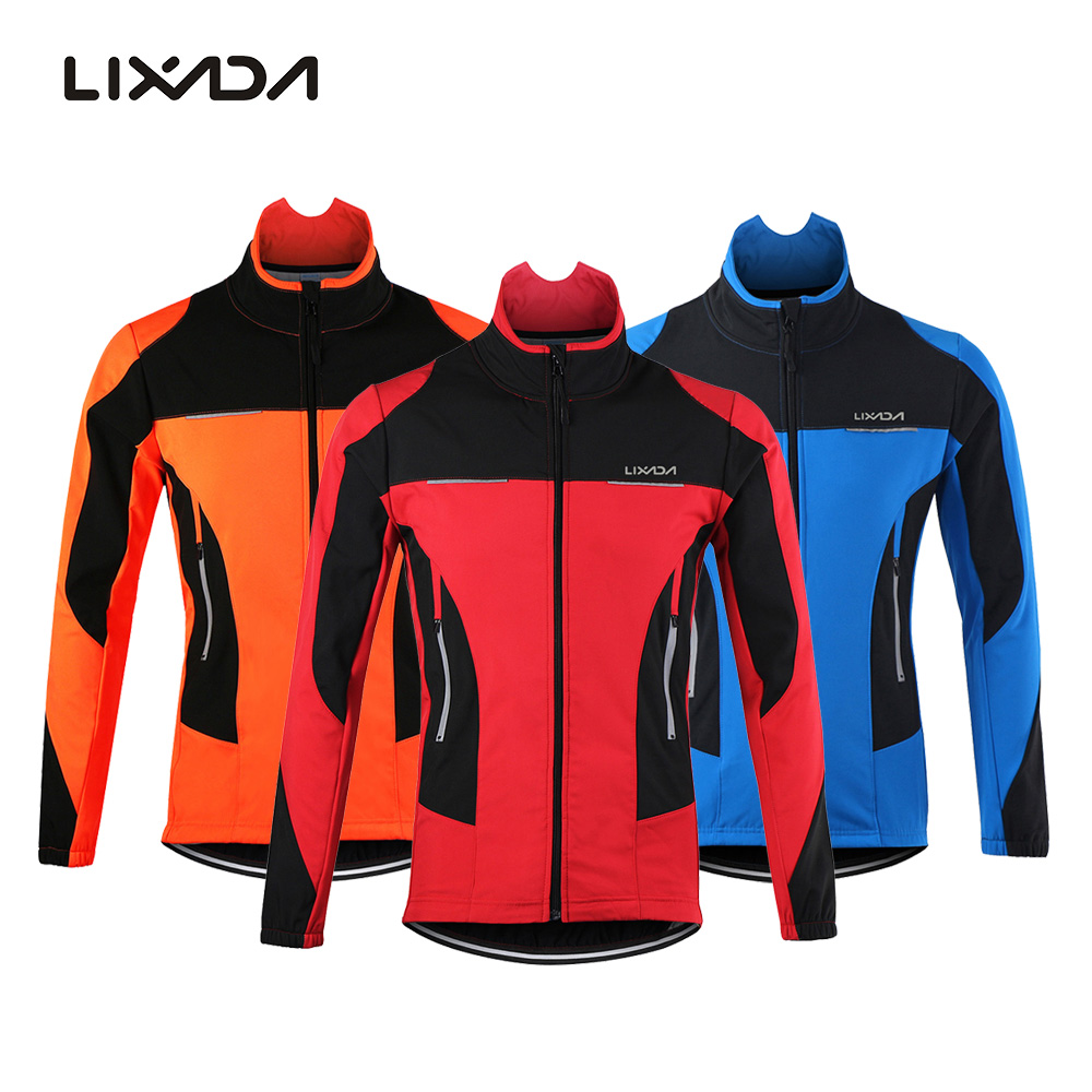 Lixada Men's Outdoor Cycling Jacket Winter Thermal Breathable Comfortable Long Sleeve Coat Water Resistant Riding Sportswear