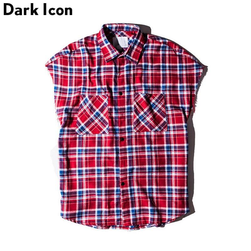 DARK ICON Plaid Shirts Männer Sleeveless 2018 Sommer Streetwear - Herrenbekleidung
