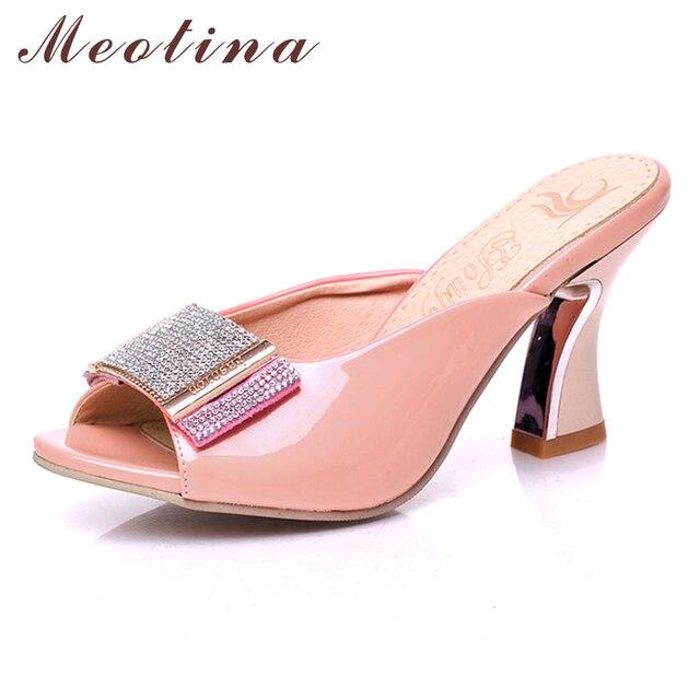 Meotina Giày Dép Nữ Mùa Hè Peep Toe Trượt Chun Giày Cao Gót Pha Lê Chiếu Trúc Hạt Dép Nữ Hồng Trắng 34- 39