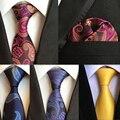 (1pieces/lot) 100% Silk Mens Neck Tie Pocket Square Set 2016 New 8cm Gravata Wedding Ties For Men Slim Necktie