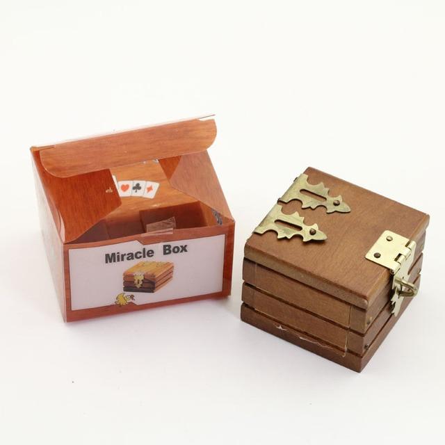 Jinhuo Mini Double Locked Box (Miracle Box) Magic Tricks Prediction Wooden Box Close Up Magic Trick Accessory Comedy
