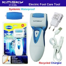 Blue waterproof charging pedicure electric tools Foot Care Exfoliating Foot Care Tool and roller pedicure heads scholls KIMISKY