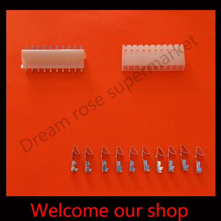 50sets ch3.96 10pin wire motorcycle plug connectors automotive male female pitch Pin Header+Terminal+Housing free shipping