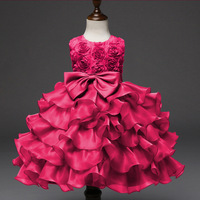 2019 New Big Bow Tie Kids Dresses for Girls Dresses for Party and Wedding Ball Gown Children's Clothing Wholesale 0 10 Years