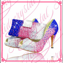 Aidocrystal Italian women blue pink white crystals high heel evening shoes clutch set matching shoes and bags italy for party