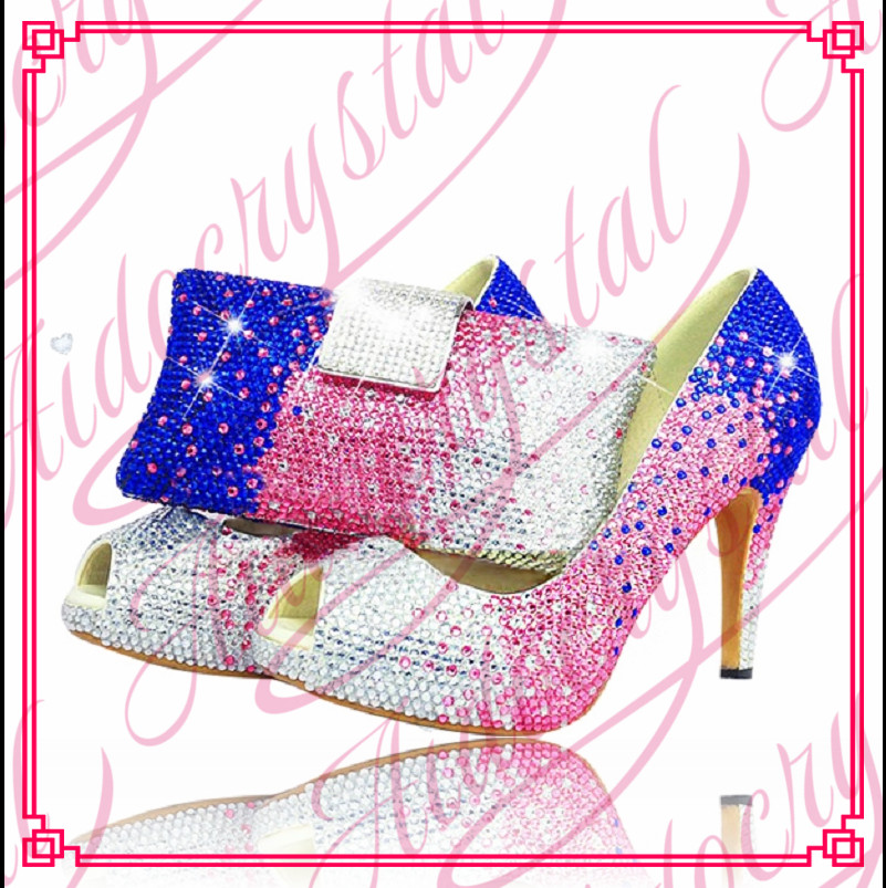 Aidocrystal Italian women blue pink white crystals high heel evening shoes clutch set matching shoes and bags italy for party aidocrystal popular beautiful high heel pink all leather dress shoes
