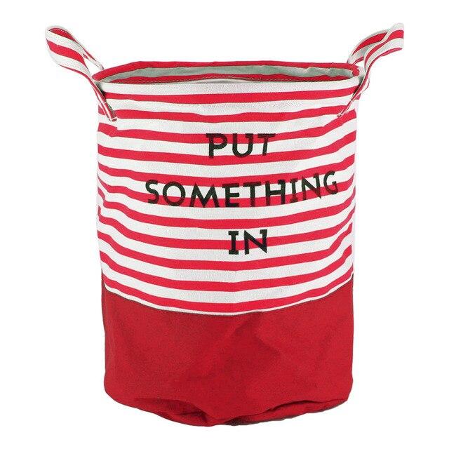 Hot Blue Red Stripe Laundry Hamper Bag Clothes Storage Baskets Home Barrel Bags Kids Toy