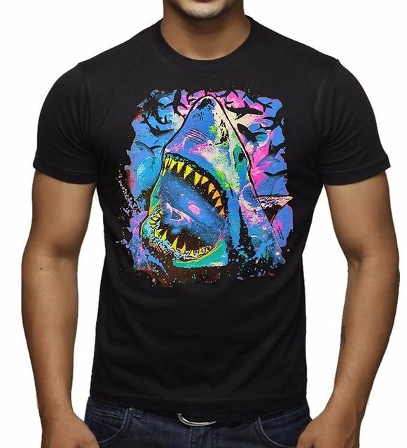 09748334 Really Cool T Shirts O-Neck Funny Short Sleeve Mens Men's Neon Light Cosmo  Shark