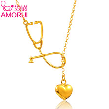 AMORUI Stethoscope Lariat Heart Stethoscope Pendant Necklace Nurse Medical Gold/Silver Color Gift Fashion Jewelry Bijoux Femme