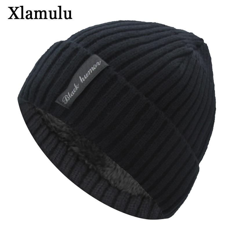 Xlamulu Fashion Men Skullies Beanies Knitted Hat Winter Hats For Women Plain Warm Male Gorros Bonnet Caps Thicken Solid Beanies