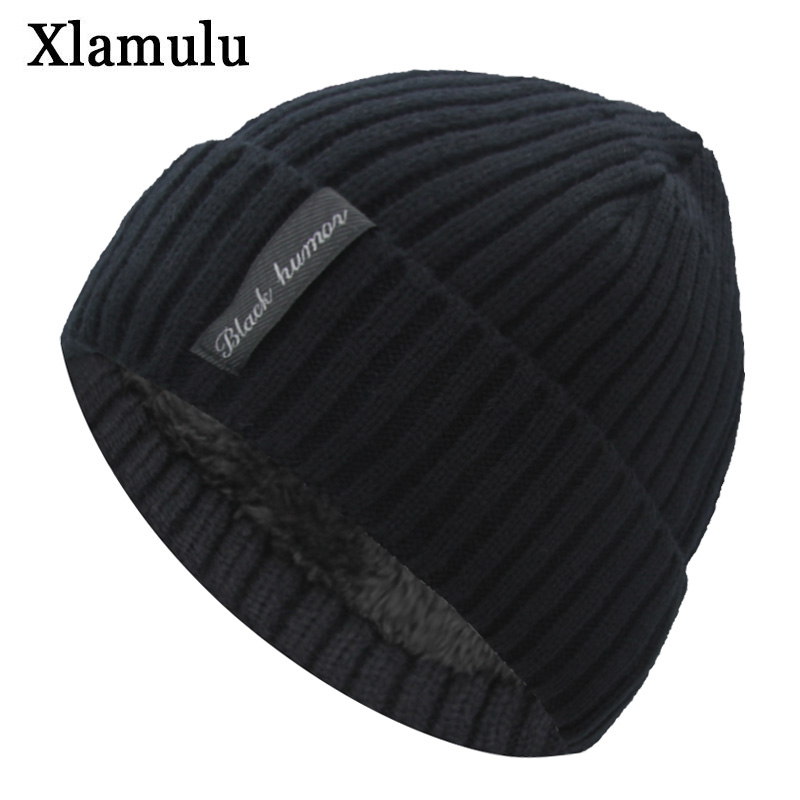 Xlamulu Fashion Men   Skullies     Beanies   Knitted Hat Winter Hats For Women Plain Warm Male Gorros Bonnet Caps Thicken Solid   Beanies