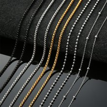 AZIZ BEKKAOUI Stainless Steel Black Silver Gold Color Box Chain Beads Basic Chains Men Necklace Choker Jewelry Top Quality(China)