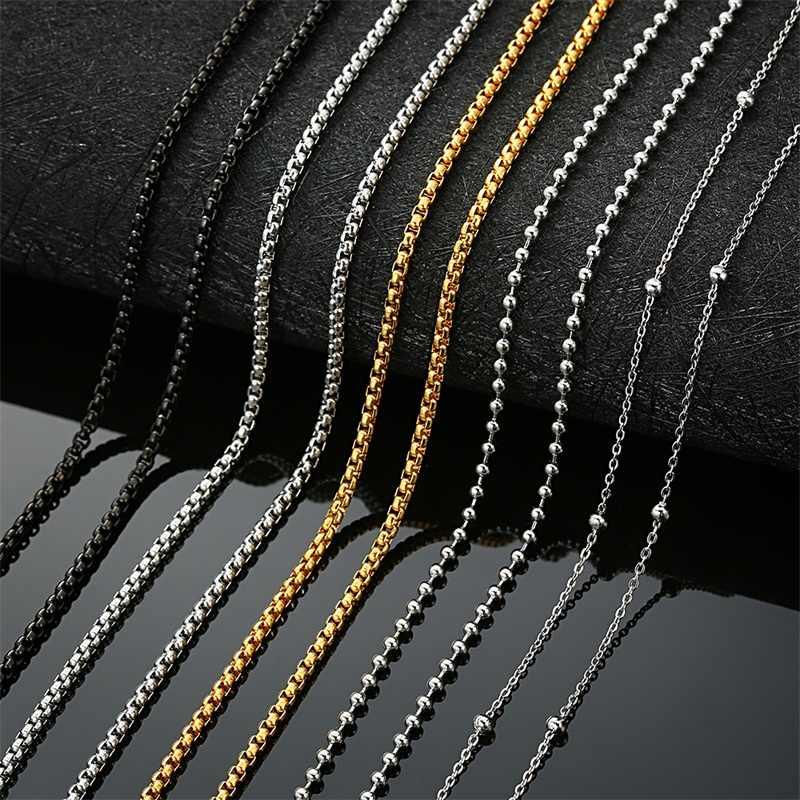 AZIZ BEKKAOUI stal nierdzewna czarny srebrny złoty kolor Box łańcuch koraliki podstawowe łańcuchy mężczyźni naszyjnik Choker biżuteria najwyższej jakości