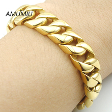 AMUMIU New Men Bracelet Silver/Gold Color Stainless Steel Bracelet & Bangle Male Accessory Hip Hop Party Rock Jewelry HZB025