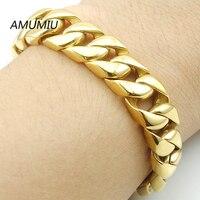 AMUMIU New Men Bracelet Silver Gold Color Stainless Steel Bracelet Bangle Male Accessory Hip Hop Party
