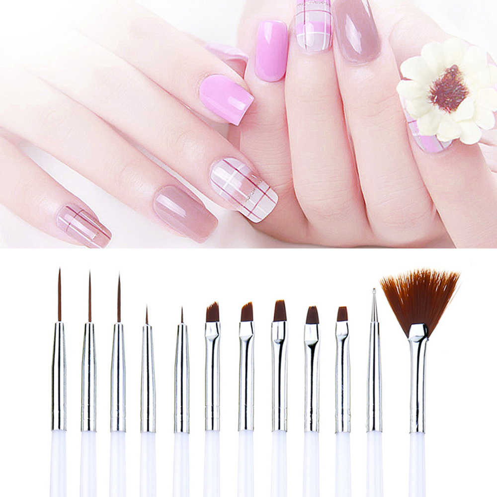 Nail Brush For Manicure Gel Brush For Nail Art 12Pcs/Set Ombre Brush For Gradient For Gel Nail Polish Painting Drawing