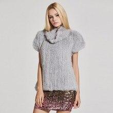 Мех Story 17211 Для женщин трикотажные настоящий кролик Мех жилет пуловер Solid Женская мода теплое пальто