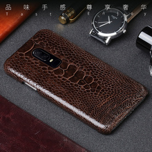 Genuine Leather phone case For Oneplus 7 PRO Case Natural Ostrich Foot Skin back cover 6 6T 5 5T 3 real leather