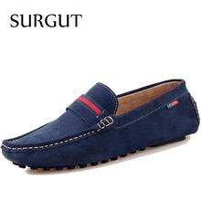 SURGUT Brand New Fashion Mens Flats Classic Slippers Men Loafers Suede Leather Shoes Brand Dress Casual Style For Summer Shoes