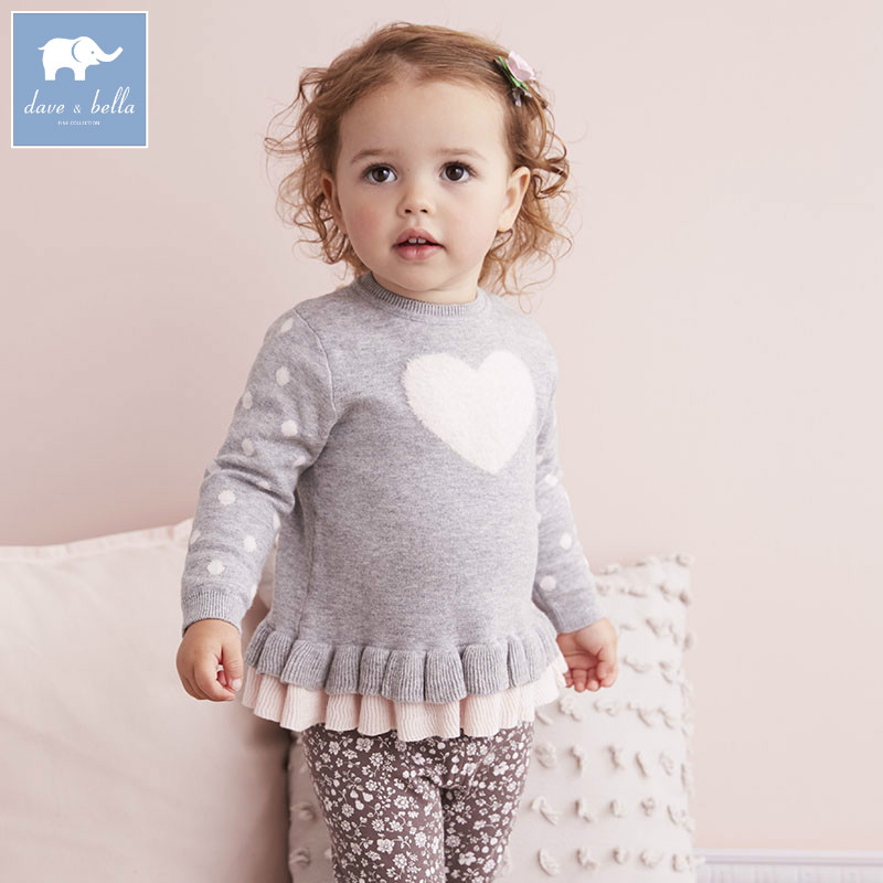 DB5628 dave bella autumn baby girls pullover tops infant clothes toddler children knitted Sweater db4013 dave bella autumn baby girl sweet design sweater toddler sweaters infant clothes girl soft sweater high quality