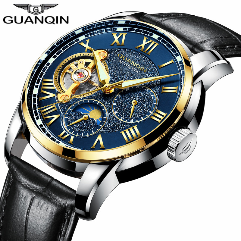 GUANQIN Brand Luxury Men Casual Fashion Tourbillon Skeleton Leather Strap Watches Automatic Mechanical Watch relogio masculino top brand men automatic self wind watch guanqin date watch men s fashion casual leather mechanical wristwatch relogio masculino