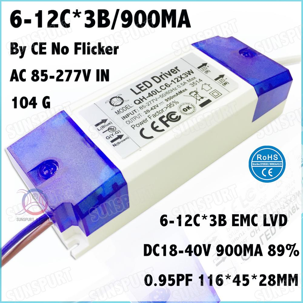 5 Pcs By TUV-CE Box 40W AC85-277V LED Driver 6-12Cx3B 900mA DC18-40V Constant Current No Flicker For LED Spotlight Free Shipping