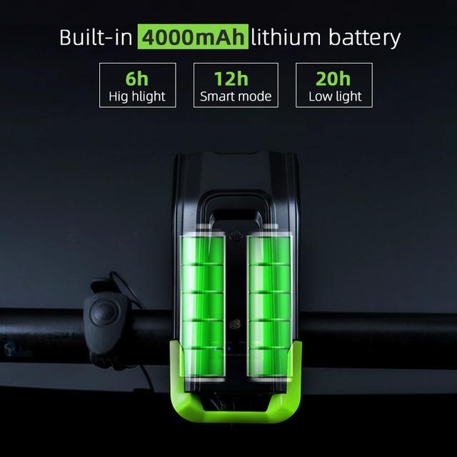 4000 mAh Inteligente Indução Luz Da Frente Da Bicicleta Conjunto USB Recarregável 800 Lumen LED Head Light com Chifre Da Bicicleta Lâmpada Ciclismo lanterna 2