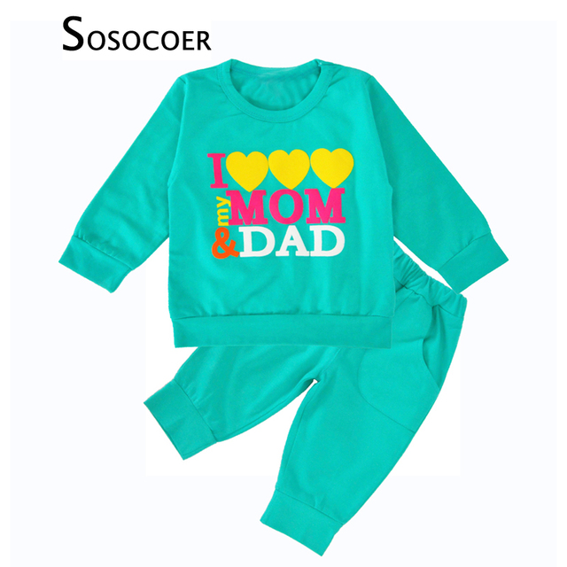 1c5d63b2c SOSOCOER Baby Boy Clothing Sets Sports 2017 Autumn I Love My Mom Dad ...